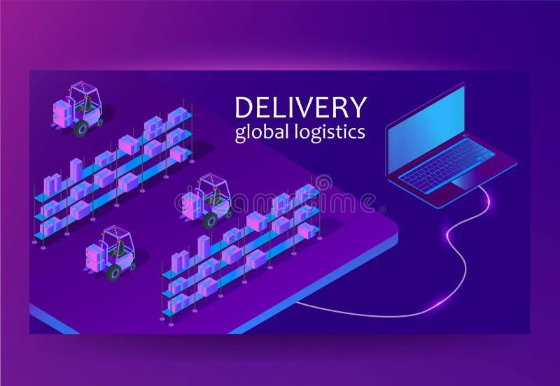 Mądrze magazynowy system zarządzania app Doręczeniowy globalny logistyki pojęcie Isometric wektor royalty ilustracja