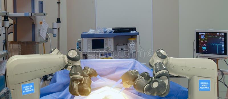 Mądrze medyczny technologii pojęcie, postępowa mechaniczna operacji maszyna przy szpitalem, mechaniczna operacja jest precyzją, m obraz stock