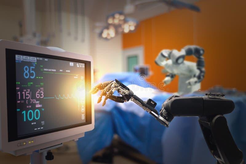 Mądrze medyczny technologii pojęcie, postępowa mechaniczna operacji maszyna przy szpitalem, mechaniczna operacja jest precyzją, m zdjęcie stock