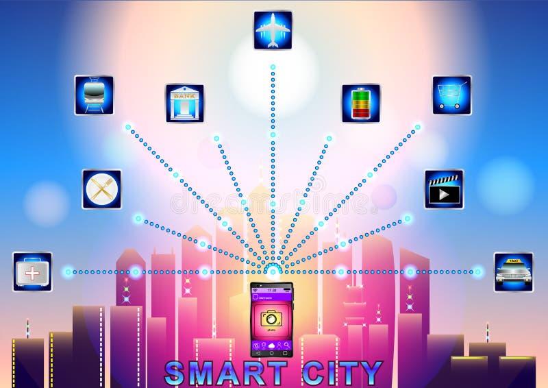 Mądrze miasta bezprzewodowa sieć komunikacyjna z mądrze telefonem ilustracja wektor