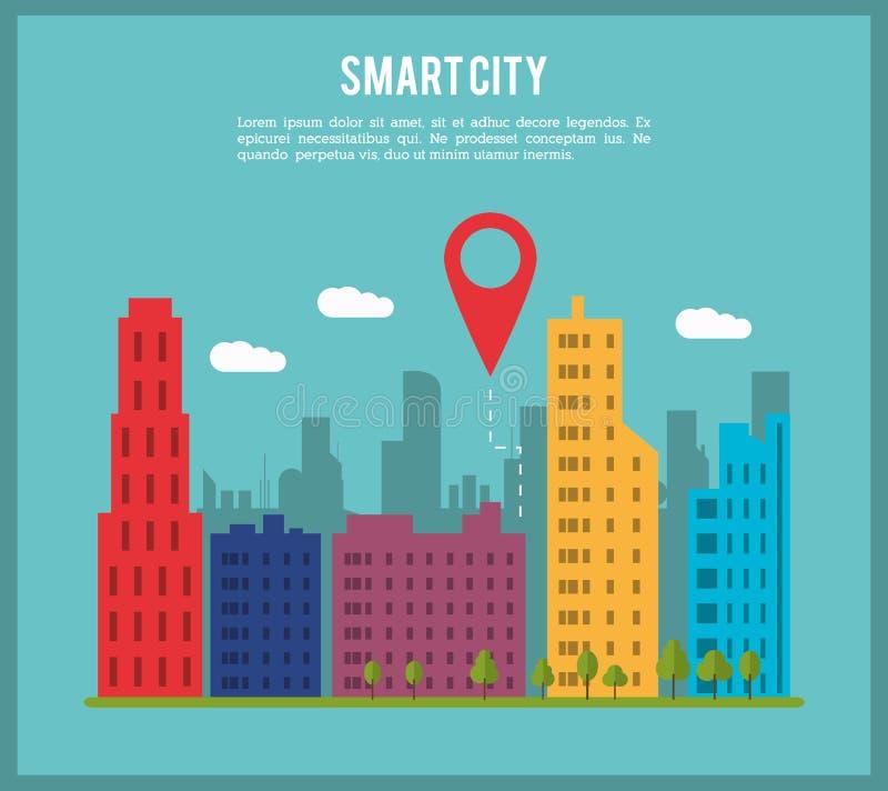 Mądrze miasto i gps ikona Technologia i Internetowy projekt wektor ilustracji