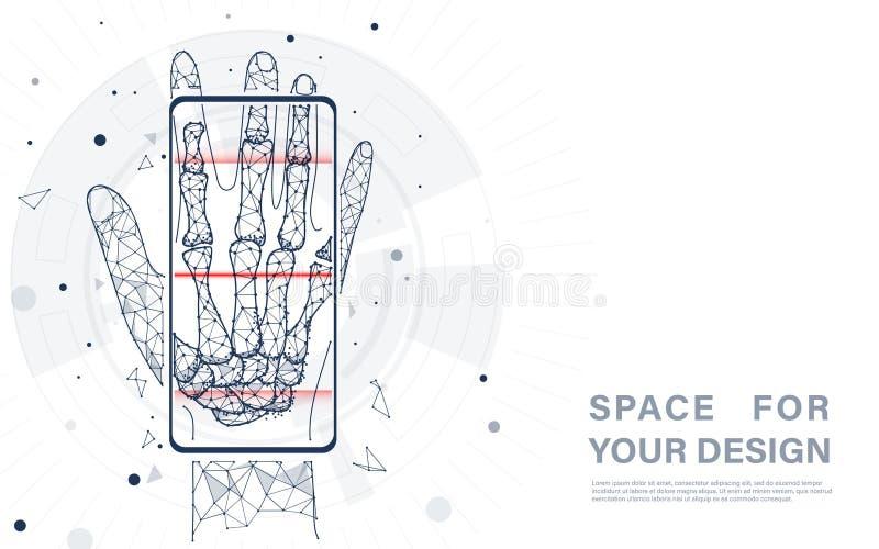 Mądrze opieki zdrowotnej technologii pojęcie Smartphone pokaz pokazuje promieniowanie rentgenowskie royalty ilustracja