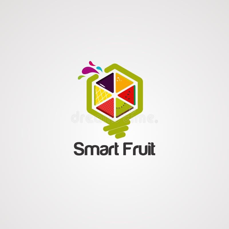 Mądrze owocowi logo wektor, ikona, element i szablon, ilustracja wektor