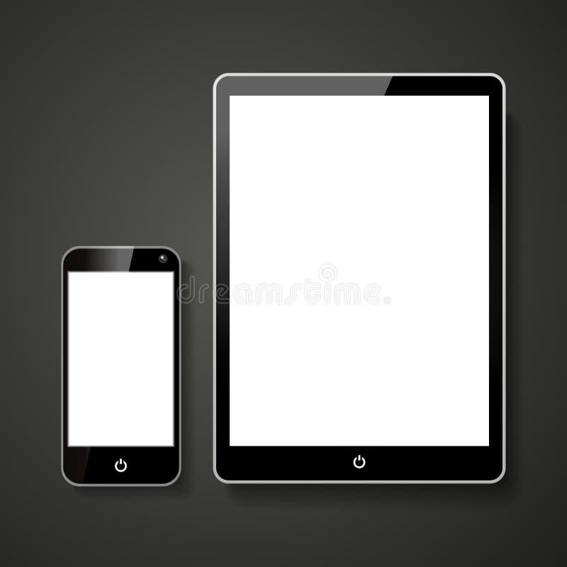 Mądrze pastylka z Pustym ekranem i telefon ilustracji
