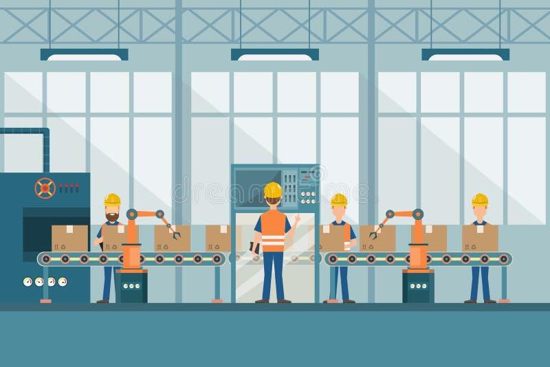 M?drze przemys?owa fabryka w p?askim stylu z pracownikami, robotami i linii monta?owej kocowaniem, ilustracja wektor