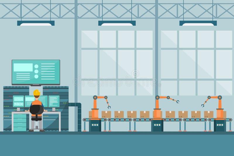 M?drze przemys?owa fabryka w p?askim stylu z pracownikami, robotami i linii monta?owej kocowaniem, ilustracji
