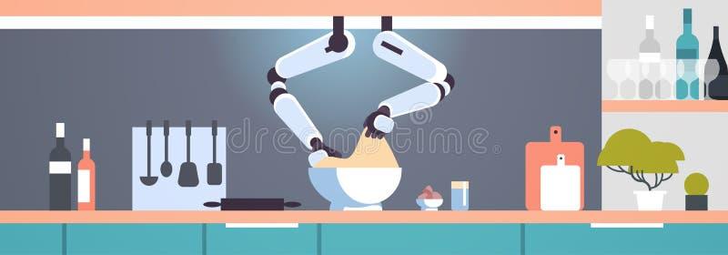 Mądrze przydatny szefa kuchni robot robi ciastu w puchar innowacji technologii sztucznej inteligencji mechanicznym pomocniczym po ilustracji
