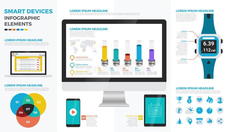 Mądrze przyrządów infographic elementy ilustracja wektor