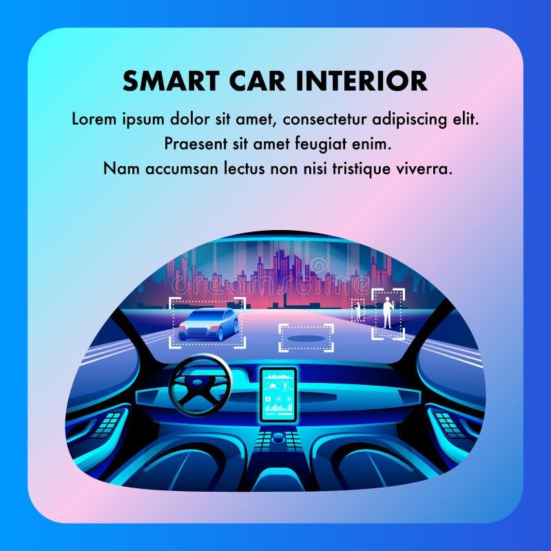 Mądrze Samochodowy kokpitu wnętrze Wektorowa płaska kreskówka ilustracja wektor