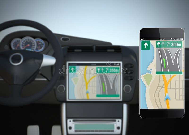 Mądrze samochodowy nawigacja interfejs w oryginalnym projekcie royalty ilustracja