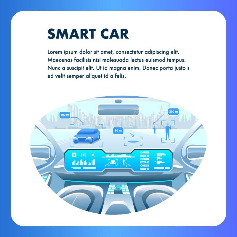 Mądrze Samochodowy Ogólnospołeczny Medialny sztandar Autonomus pojazd ilustracji