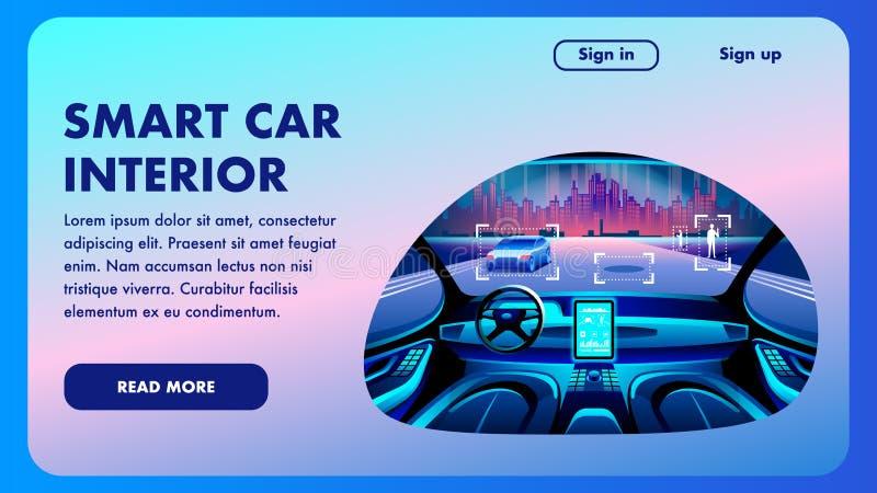 Mądrze samochodowy wnętrze Przyszłościowy Wektorowy projekta sztandar ilustracji