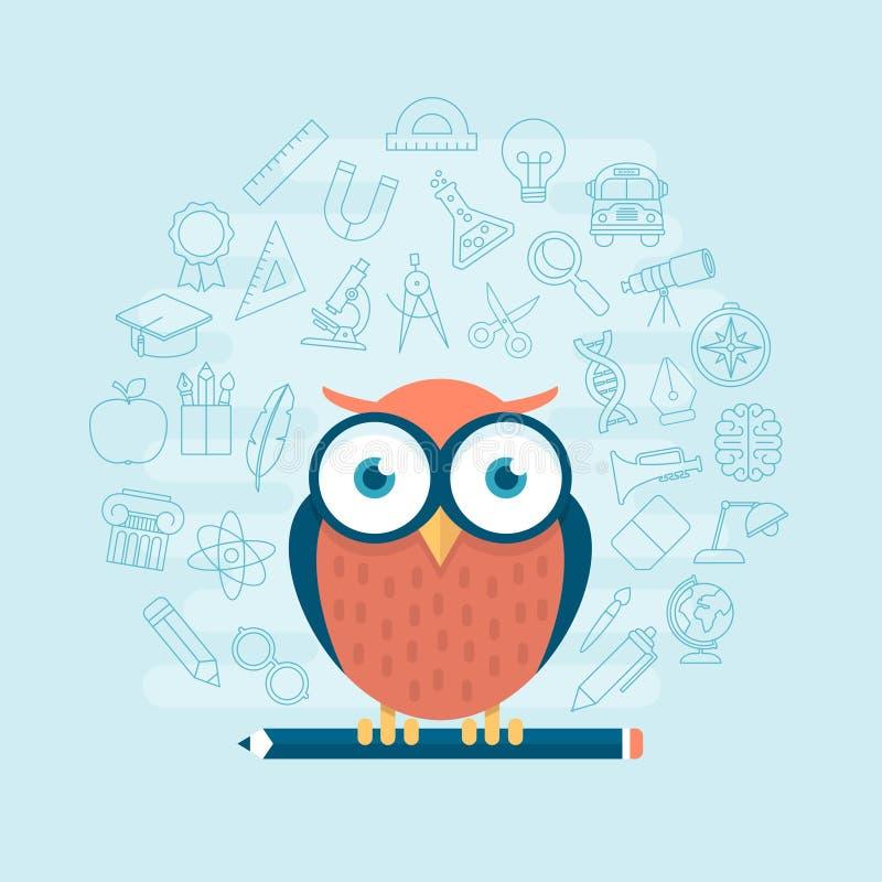 Mądrze sowy pozycja na ołówku otaczającym cienką kreskową edukacją t ilustracja wektor
