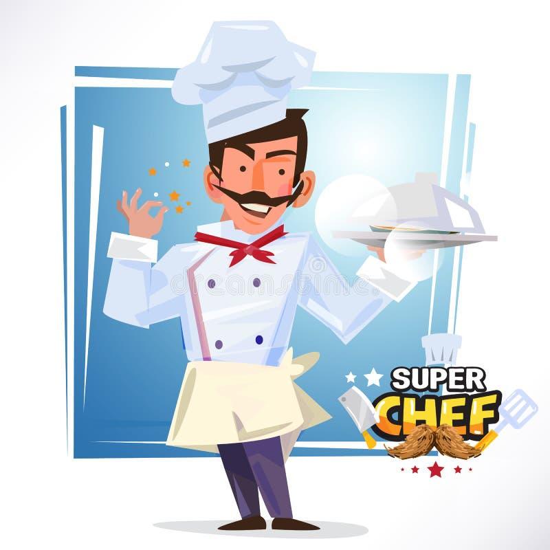 Mądrze szef kuchni słuzyć tacę jedzenie wyśmienicie pojęcie charakter ilustracja wektor