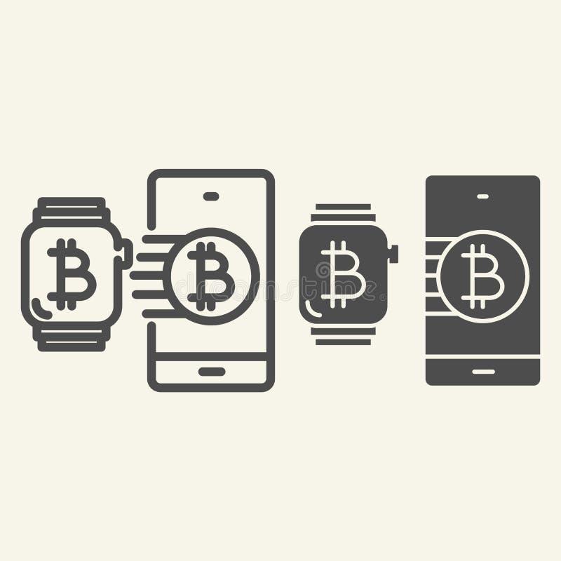 Mądrze technologii, cryptocurrency linia i Bitcoin smartwatch i telefon wektorowa ilustracja odizolowywająca dalej ilustracja wektor