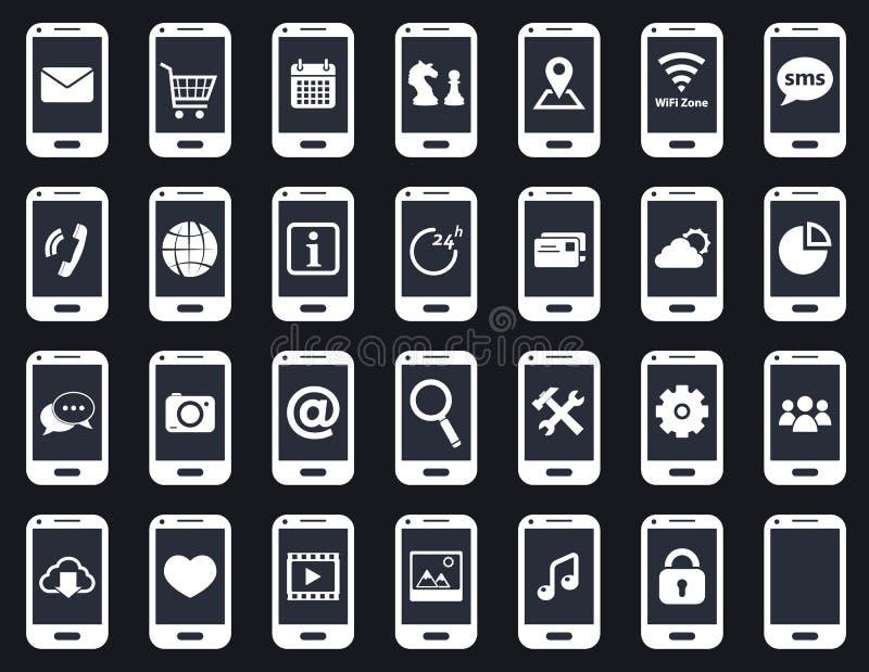 Mądrze telefon ikony royalty ilustracja