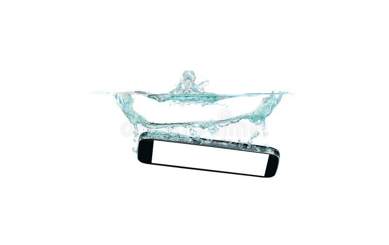 Mądrze telefon w wodzie i pluśnięcie na białym tle zdjęcie stock