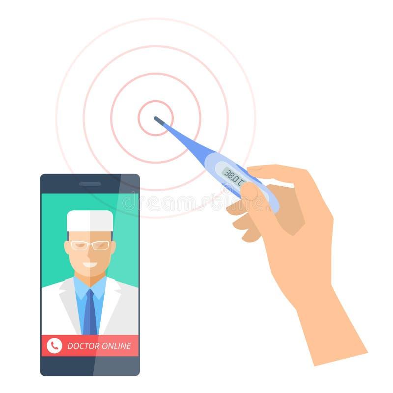 Mądrze telefon z doktorski onlinym i ręką trzyma termometr ilustracji