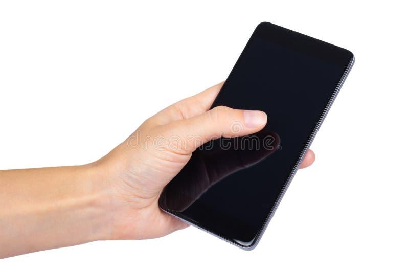 Mądrze telefon z pustym ekranem w ręce odizolowywającej na białym tle, duża wisząca ozdoba, czarny telefon komórkowy, 5 5 calowy  zdjęcie stock