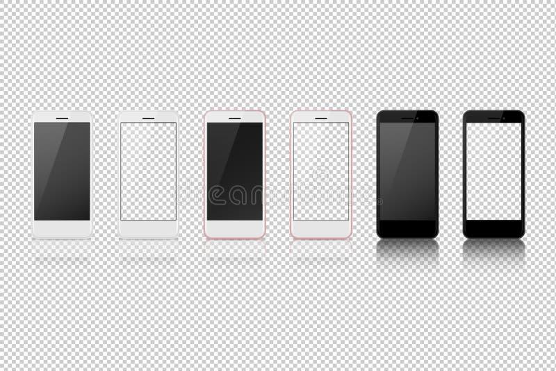 Mądrze telefon z różnym kolorem, biały puste miejsce na przejrzystym ekranie ilustracja wektor