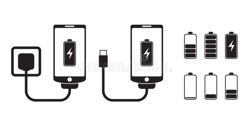 Mądrze telefonu ładunek z bateryjnym wskaźnika poziomem, wektorowe ikony royalty ilustracja