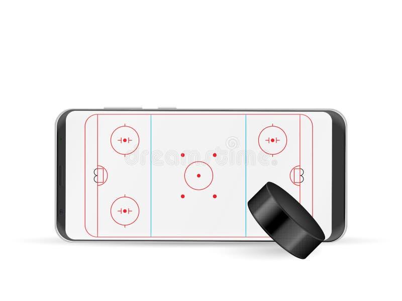 Mądrze telefonu hokej royalty ilustracja