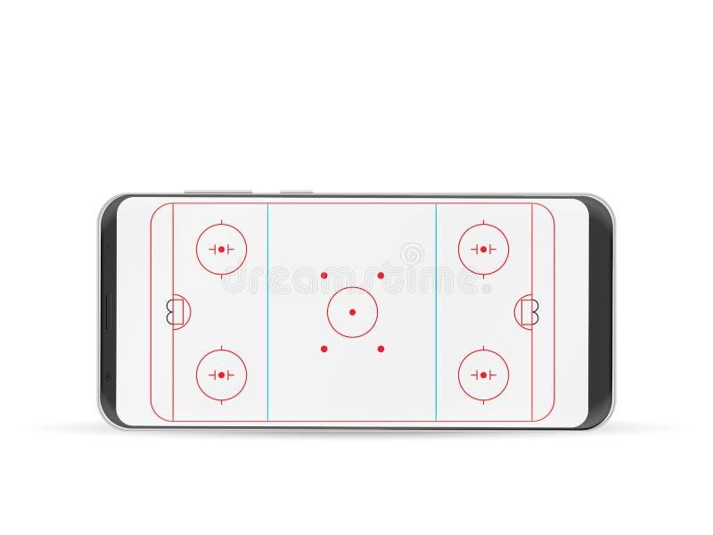 Mądrze telefonu hokeja lodowisko royalty ilustracja