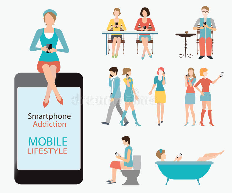 Mądrze telefonu nałóg royalty ilustracja