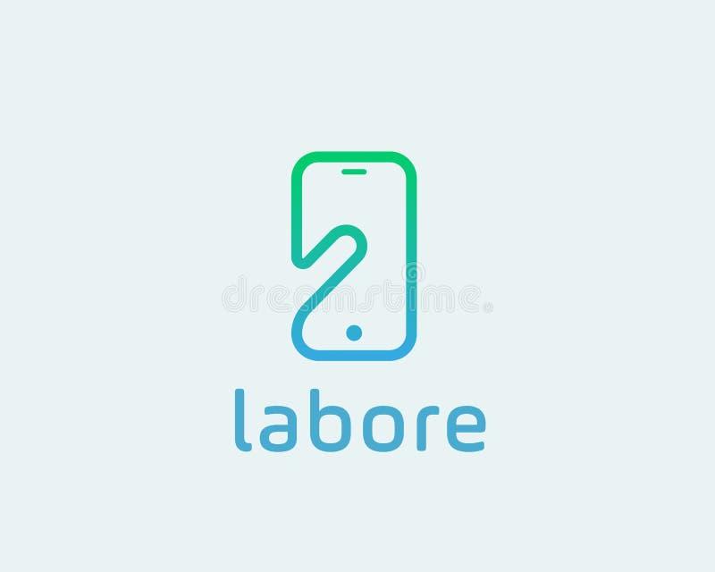 Mądrze telefonu negatywu przestrzeni loga symbol Dotyka ekranu palca monitoru mobilnej ręki kreatywnie znak royalty ilustracja