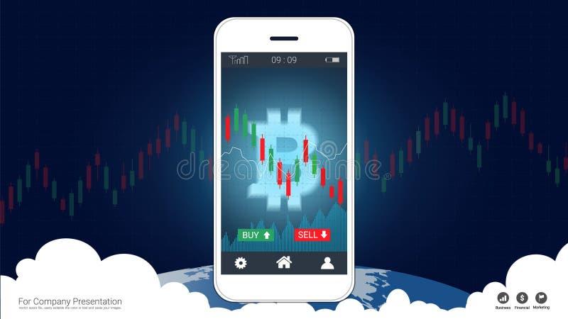 Mądrze telefonu parawanowy pokazuje bitcoin i Candlestick pieniężny wykres sporządzamy mapę wspinaczkowy up ilustracja wektor