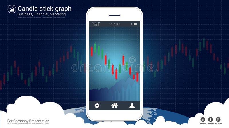 Mądrze telefonu parawanowy pokazuje candlestick i pieniężny wykres sporządzamy mapę ilustracja wektor