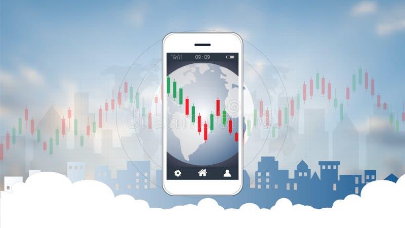 Mądrze telefonu parawanowy pokazuje candlestick i pieniężny wykres sporządzamy mapę royalty ilustracja