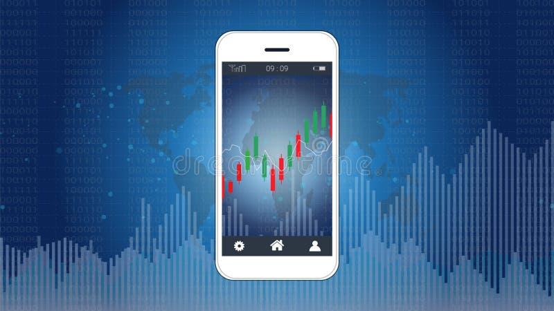 Mądrze telefonu parawanowy pokazuje candlestick i pieniężny wykres sporządzamy mapę ilustracji