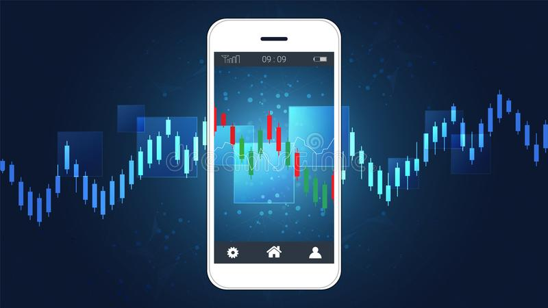 Mądrze telefonu parawanowy seans pieniężny i candlestick wykres sporządzamy mapę wspinaczkowego up prezentacja szablon royalty ilustracja