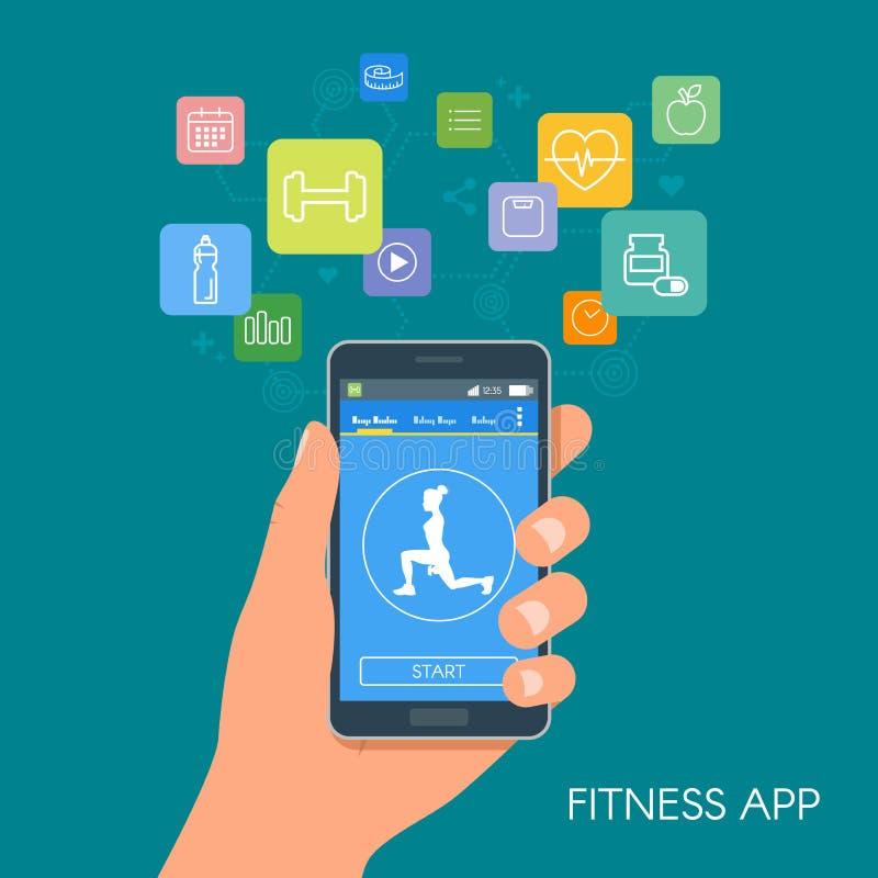 Mądrze telefonu sport app z ikonami Sprawności fizycznej mobilny podaniowy pojęcie ilustracja wektor