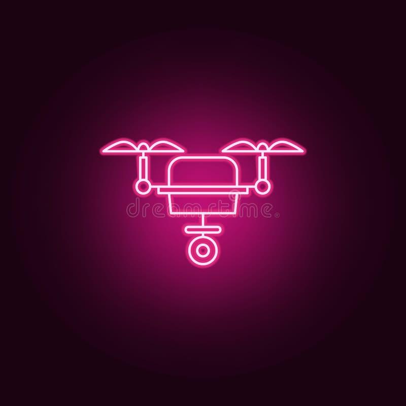 Mądrze truteń kamery ikona Elementy sztuczny w neonowych stylowych ikonach Prosta ikona dla stron internetowych, sieć projekt, mo ilustracja wektor