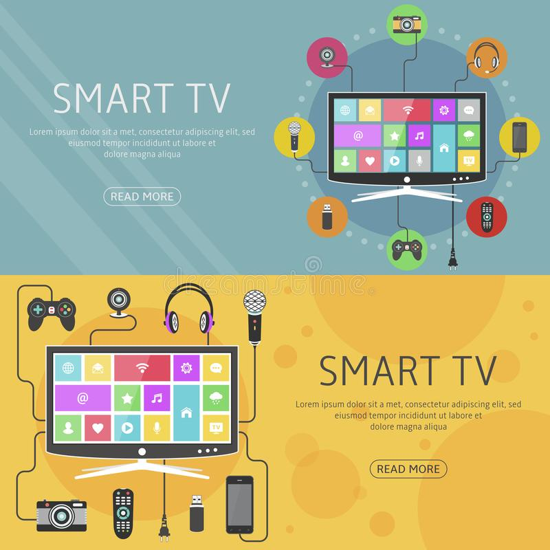 Mądrze TV projekta płaski pojęcie i sztandary Nowożytni cyfrowi przyrząda łączący telewizja ilustracja wektor