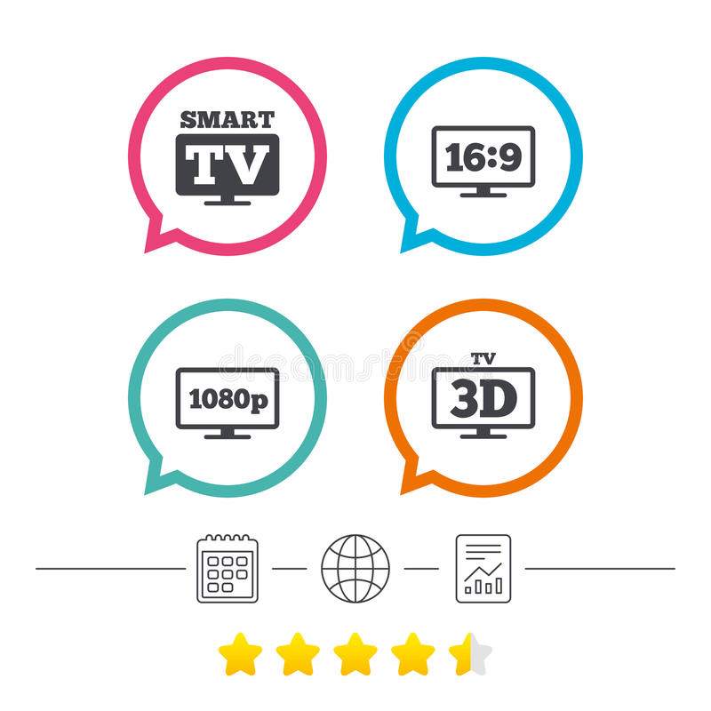 Mądrze TV trybu ikona 3D telewizi symbol ilustracja wektor