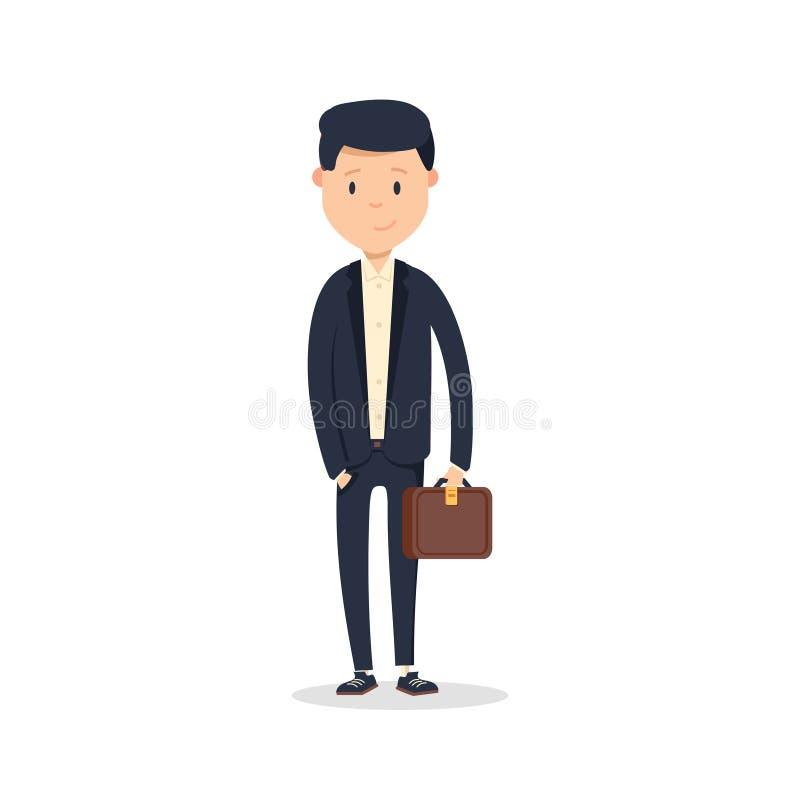 Mądrze ubierający biznesmen, ono uśmiecha się Przystojny młody biznesmen trzyma jego teczkę podczas gdy stojący ilustracja wektor