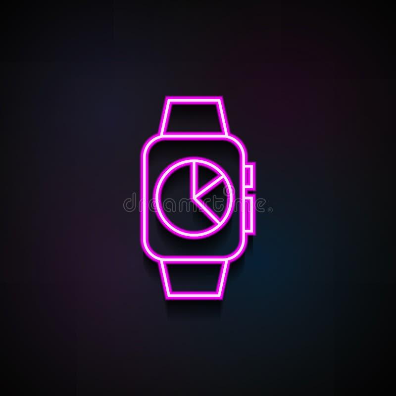 mądrze zegar z rozkład ikoną Element minimalistic ikony dla mobilnych pojęcia i sieci apps Neonowy mądrze zegar z rozkładem ilustracji