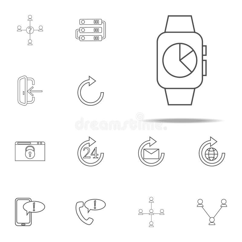 mądrze zegar z rozkład ikoną sieci ikon ogólnoludzki ustawiający dla sieci i wiszącej ozdoby royalty ilustracja