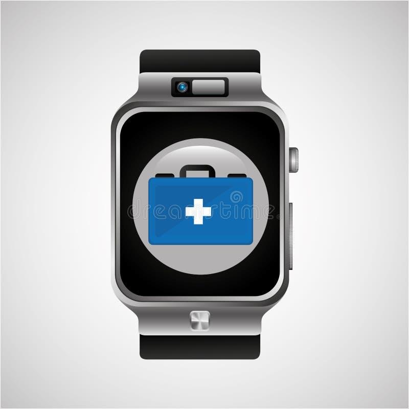 Mądrze zegarek pierwszej pomocy pudełka noszony zdrowy royalty ilustracja