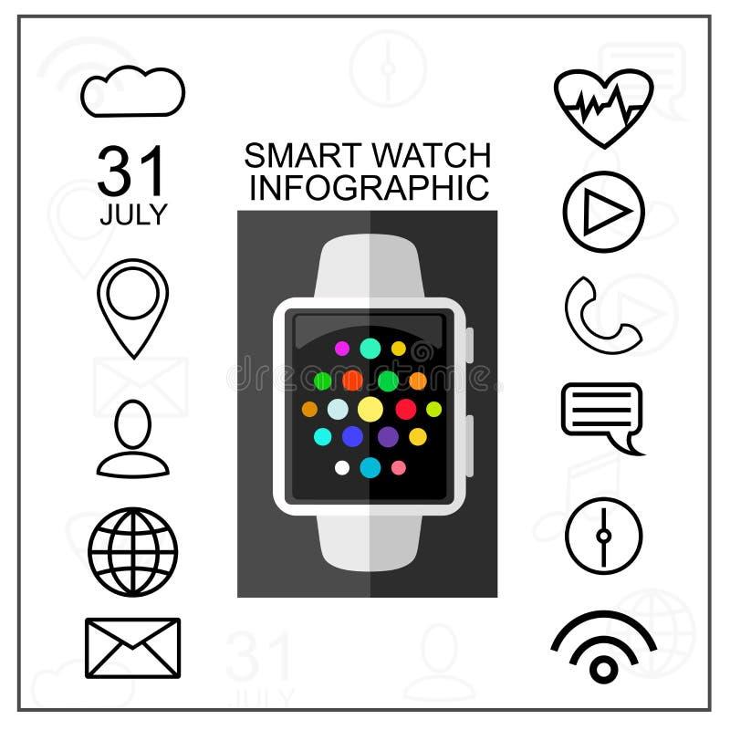 Mądrze zegarek z konturu App ikonami Ustawiać Nowożytnego projekta pojęcie również zwrócić corel ilustracji wektora Mieszkanie st ilustracja wektor