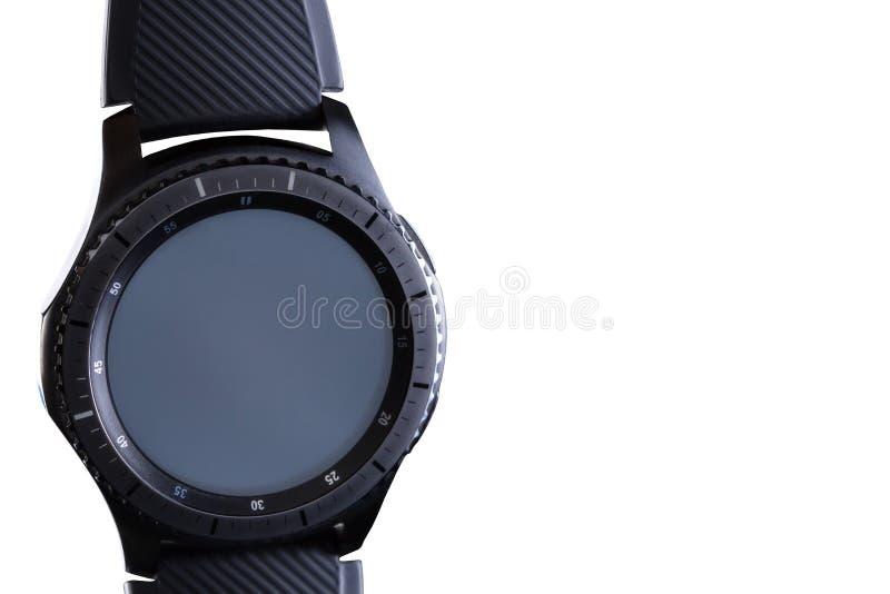 Mądrze zegarek z pustą tarczą na białym tle fotografia stock