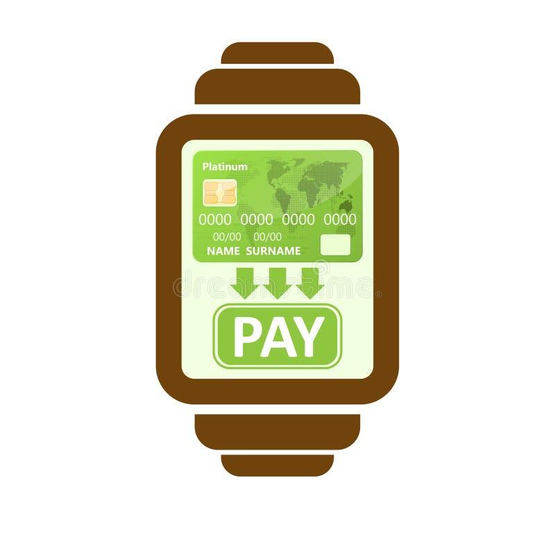 Mądrze zegarek zapłaty ilustracja wektor