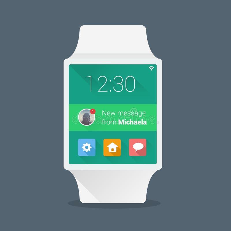 Mądrze zegarka pojęcie z prostym interfejsem użytkownika ilustracja wektor