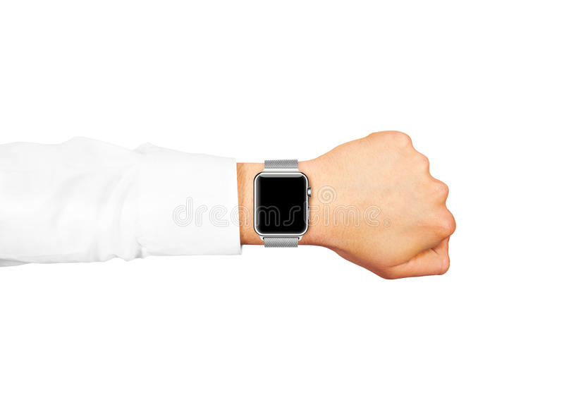 Mądrze zegarka pustego ekranu egzaminu próbnego up odzież na ręce odizolowywającej zdjęcia stock