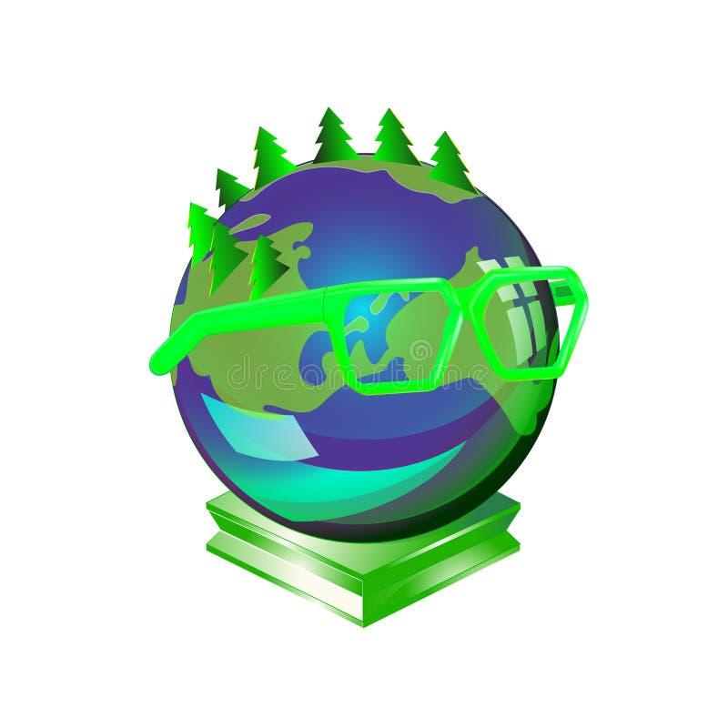 Mądrze Ziemska planeta jest ubranym szkła, symbol koncern dla środowiska, zhumanizowany kula ziemska charakter z emoci kolorowym  ilustracji