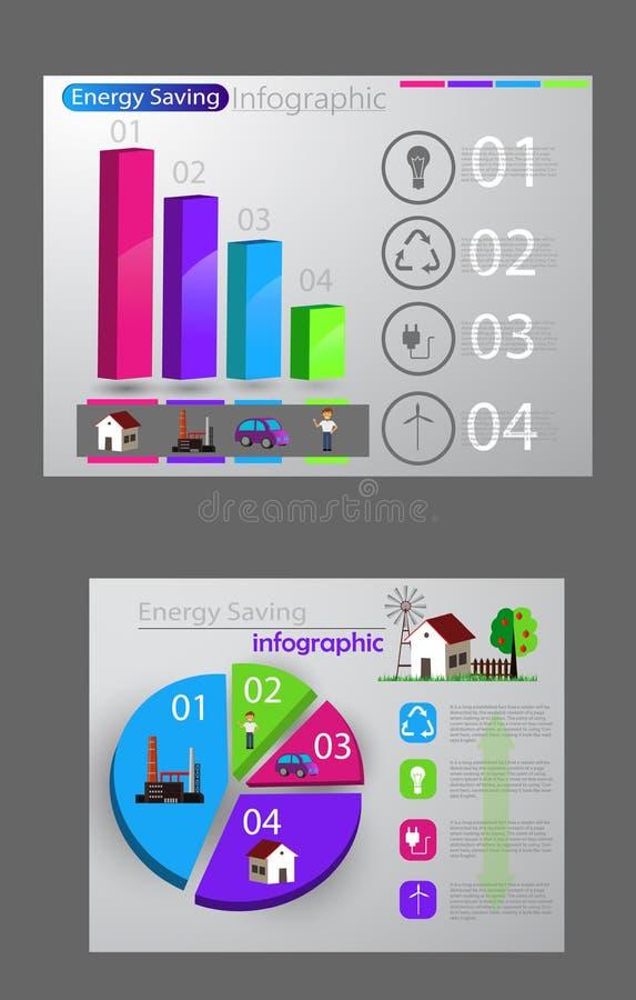 Mądrze zużycia energii infographic pojęcie ilustracji
