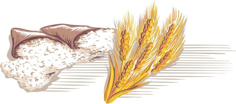 Mąk torby i wiązka dojrzali ucho ilustracja wektor